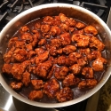 General Tsos Chicken. Served it over rice! Perfect crunchy outside, moist and tender inside!