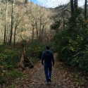 My husband John leading the way on one of our hikes in the Smokey Mountains