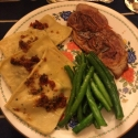 Veal scallopini, homemade spinach/ricotta ravioli with a tomato pancetta butter, sautéed green beans. Fantastic meal! Will serve the ravioli in mini Emile Henry pie dishes next time!